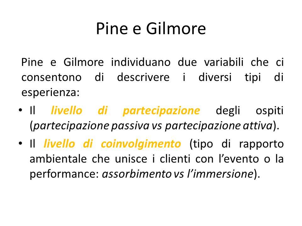 Pine e Gilmore Pine e Gilmore individuano due variabili che ci consentono di descrivere i diversi tipi di esperienza: