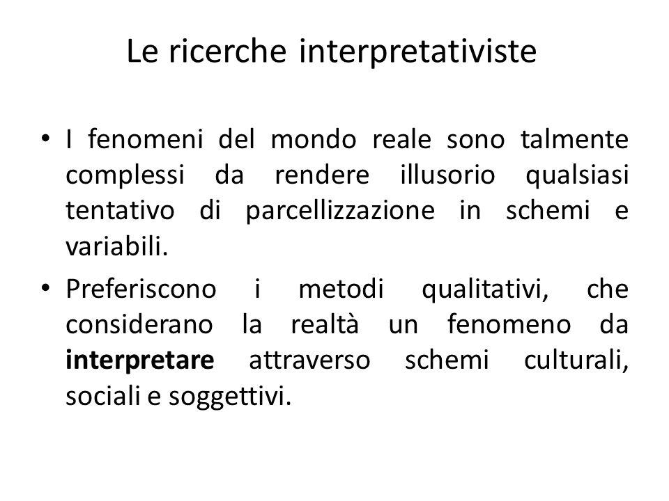 Le ricerche interpretativiste