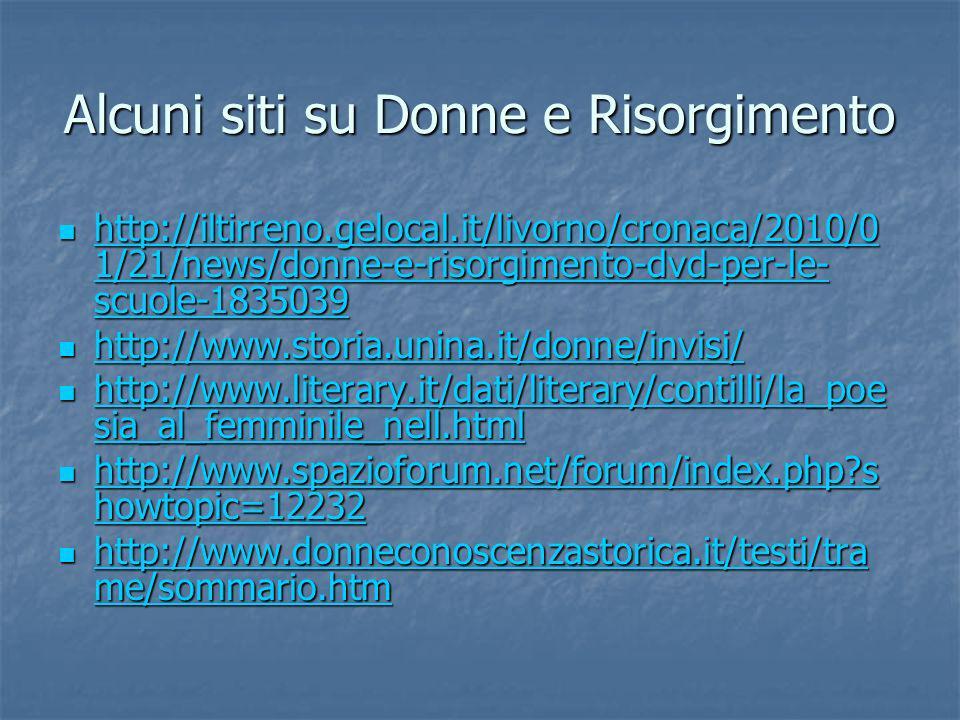 Alcuni siti su Donne e Risorgimento