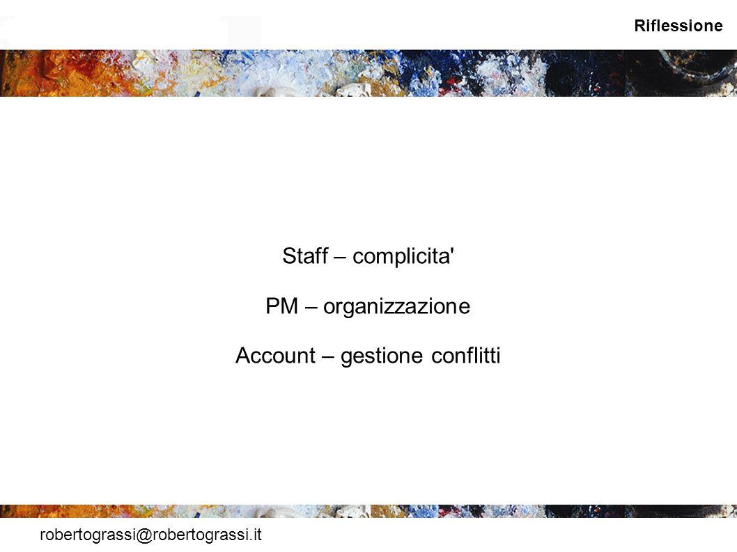 Staff – complicita PM – organizzazione Account – gestione conflitti