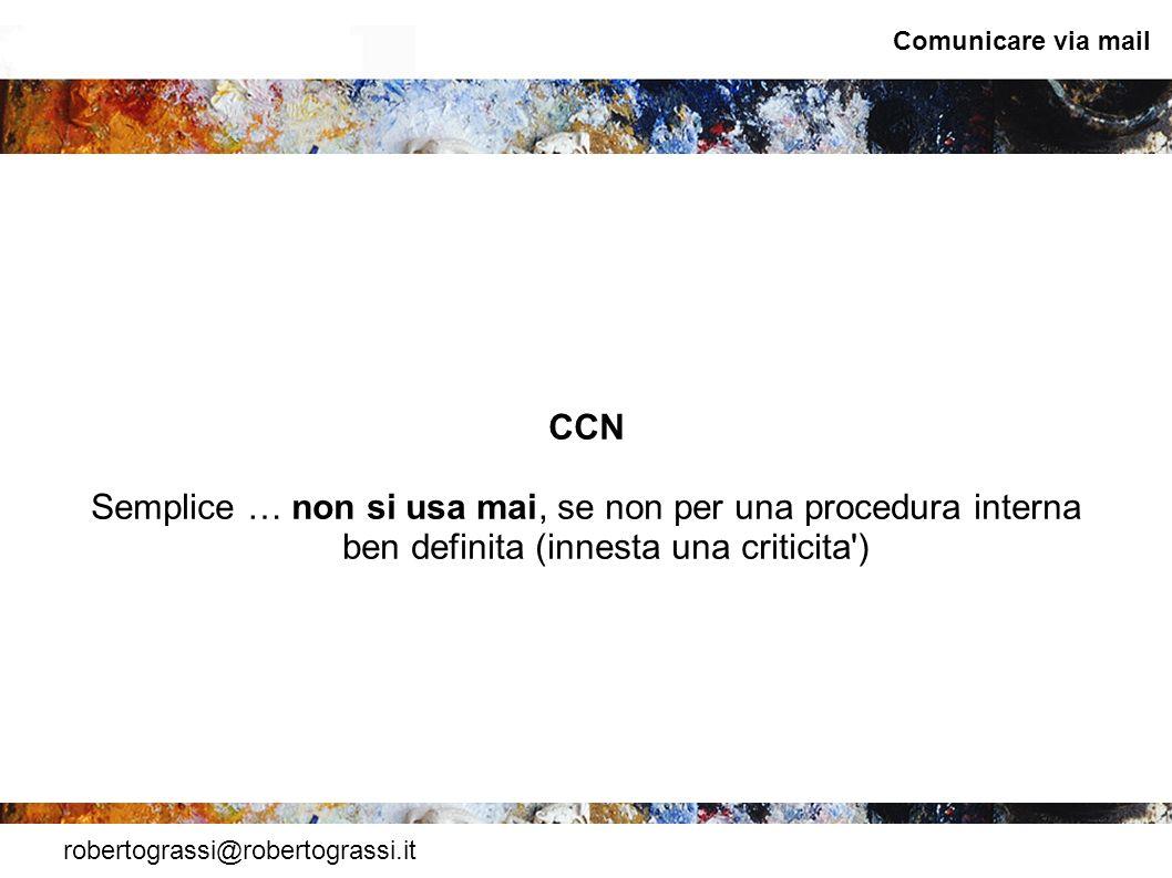 Comunicare via mail CCN. Semplice … non si usa mai, se non per una procedura interna ben definita (innesta una criticita )