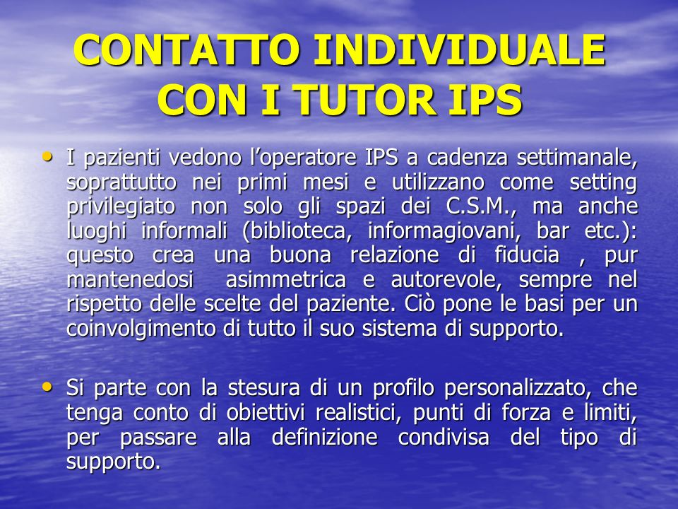 CONTATTO INDIVIDUALE CON I TUTOR IPS