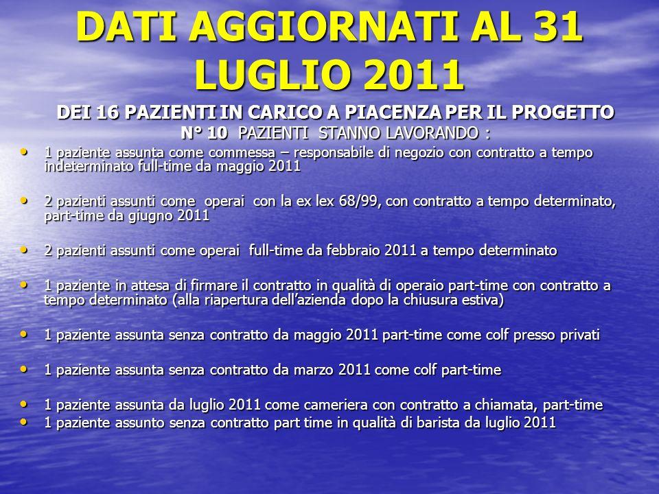 DATI AGGIORNATI AL 31 LUGLIO 2011