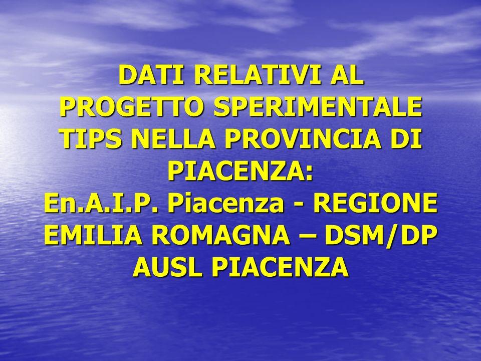 DATI RELATIVI AL PROGETTO SPERIMENTALE TIPS NELLA PROVINCIA DI PIACENZA: En.A.I.P.