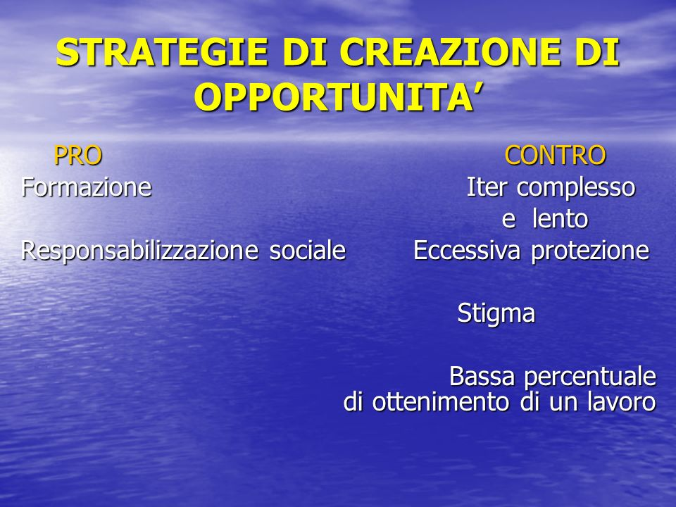 STRATEGIE DI CREAZIONE DI OPPORTUNITA'