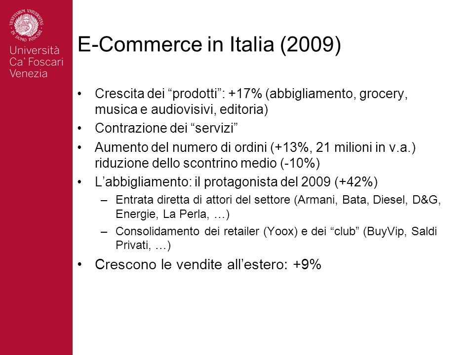 E-Commerce in Italia (2009)