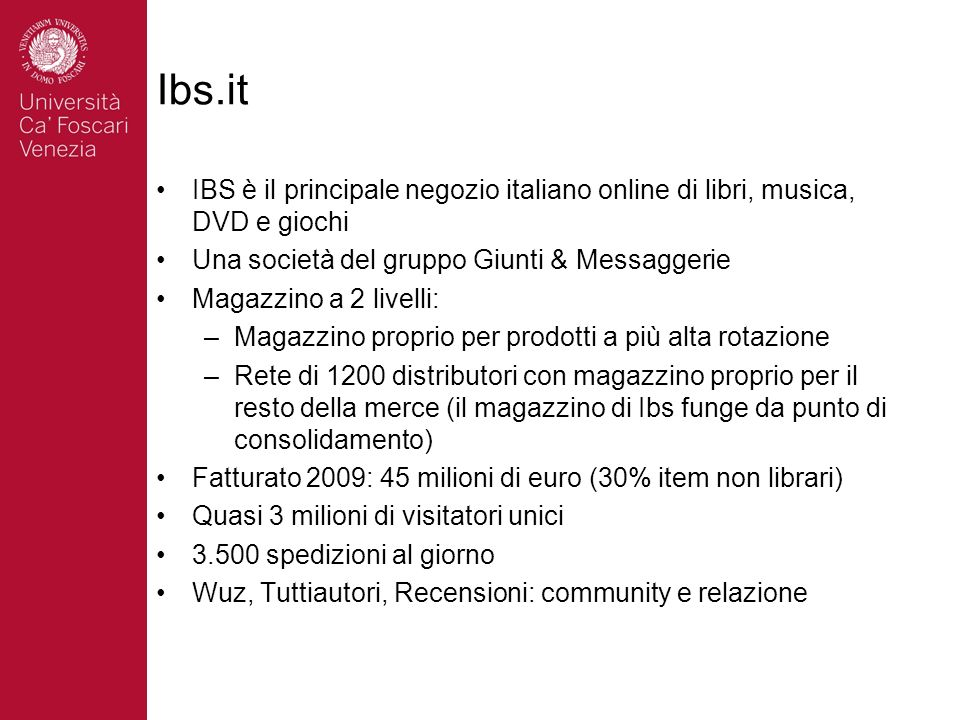 Ibs.it IBS è il principale negozio italiano online di libri, musica, DVD e giochi. Una società del gruppo Giunti & Messaggerie.