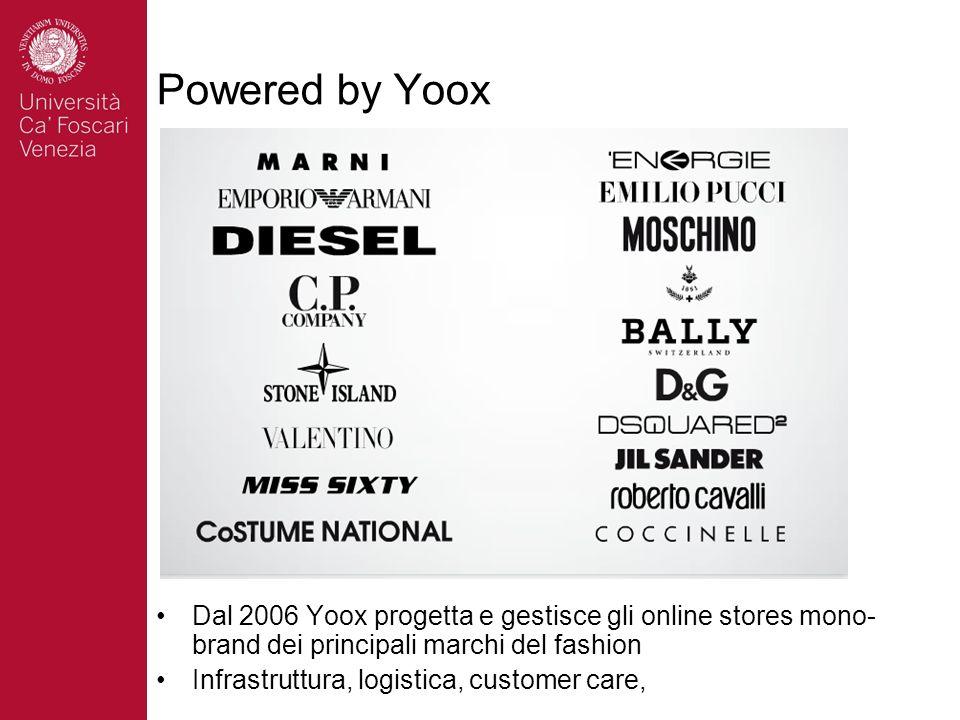 Powered by Yoox Dal 2006 Yoox progetta e gestisce gli online stores mono-brand dei principali marchi del fashion.
