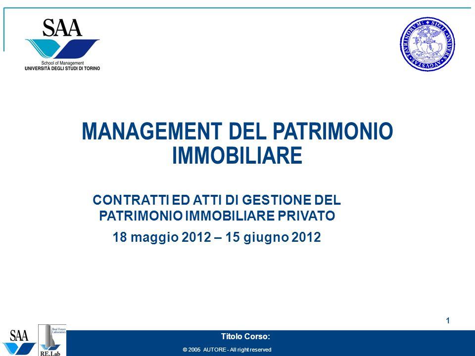 MANAGEMENT DEL PATRIMONIO IMMOBILIARE