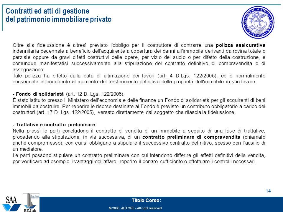 Management del patrimonio immobiliare ppt scaricare - Contratto preliminare esempio ...