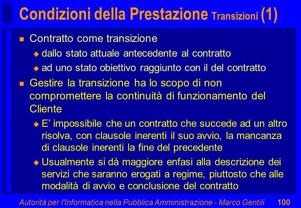 Condizioni della Prestazione Transizioni (1)