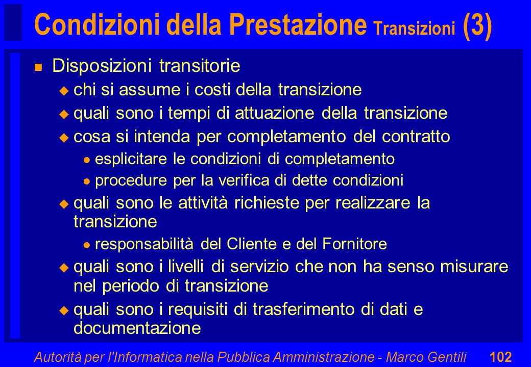 Condizioni della Prestazione Transizioni (3)