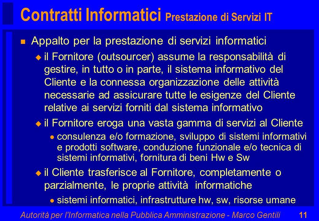 Contratti Informatici Prestazione di Servizi IT