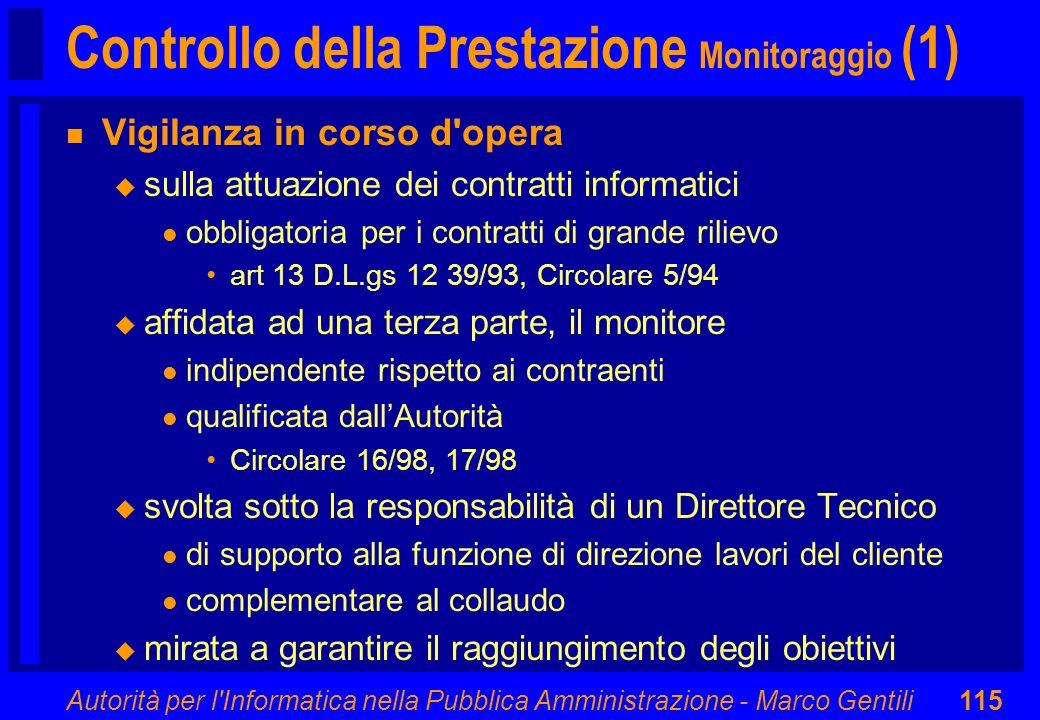 Controllo della Prestazione Monitoraggio (1)