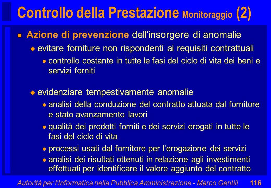 Controllo della Prestazione Monitoraggio (2)