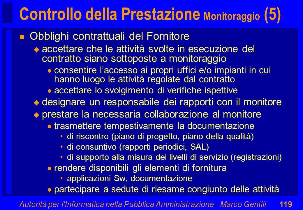 Controllo della Prestazione Monitoraggio (5)