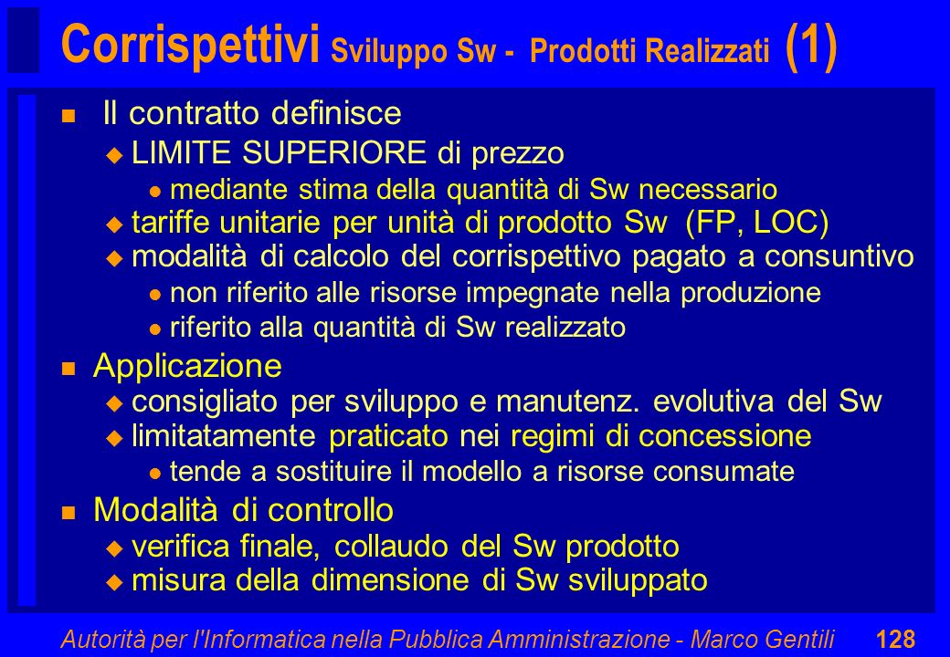 Corrispettivi Sviluppo Sw - Prodotti Realizzati (1)