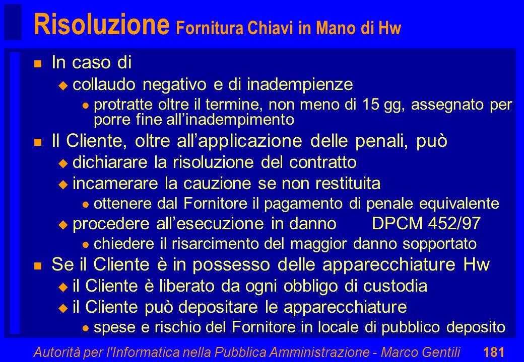 Risoluzione Fornitura Chiavi in Mano di Hw