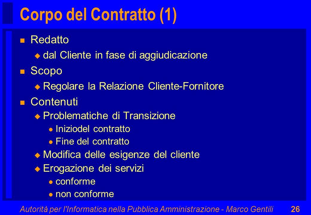 Corpo del Contratto (1) Redatto Scopo Contenuti