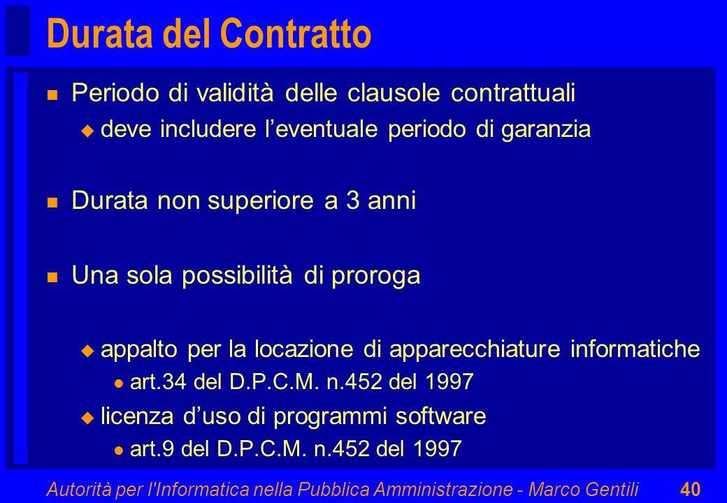 Durata del Contratto Periodo di validità delle clausole contrattuali