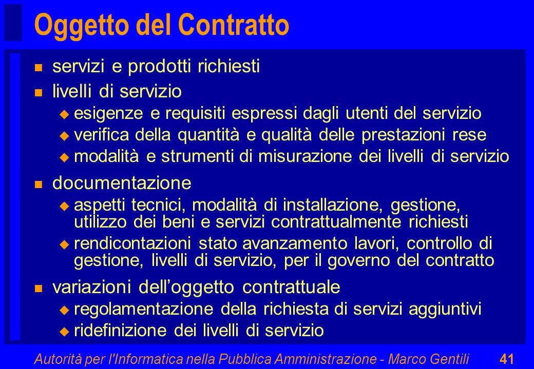Oggetto del Contratto servizi e prodotti richiesti livelli di servizio