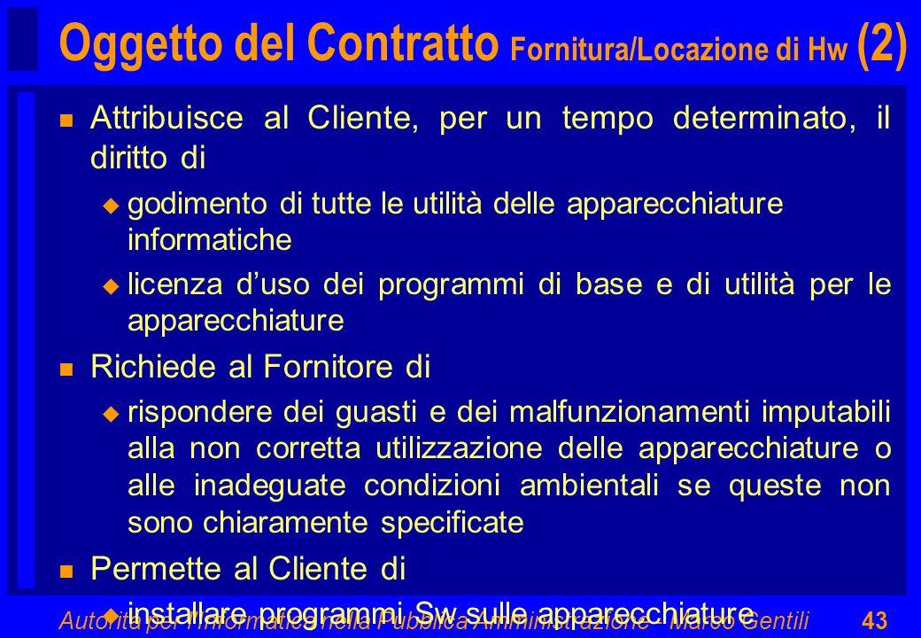 Oggetto del Contratto Fornitura/Locazione di Hw (2)