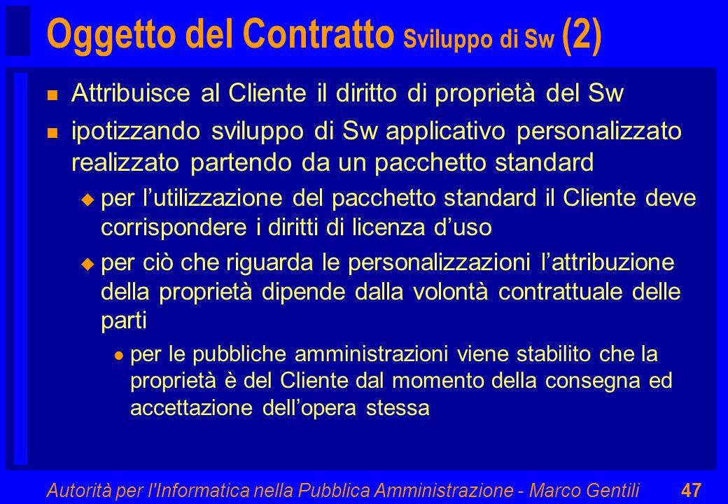 Oggetto del Contratto Sviluppo di Sw (2)