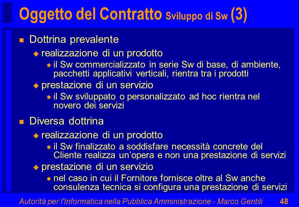 Oggetto del Contratto Sviluppo di Sw (3)