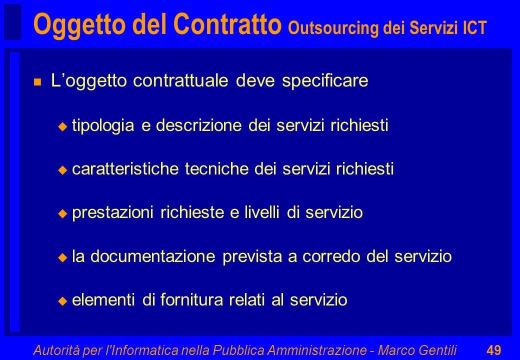 Oggetto del Contratto Outsourcing dei Servizi ICT
