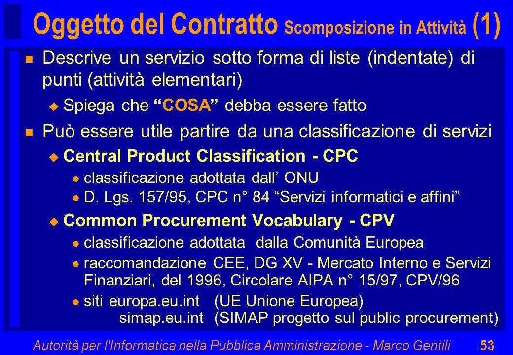 Oggetto del Contratto Scomposizione in Attività (1)