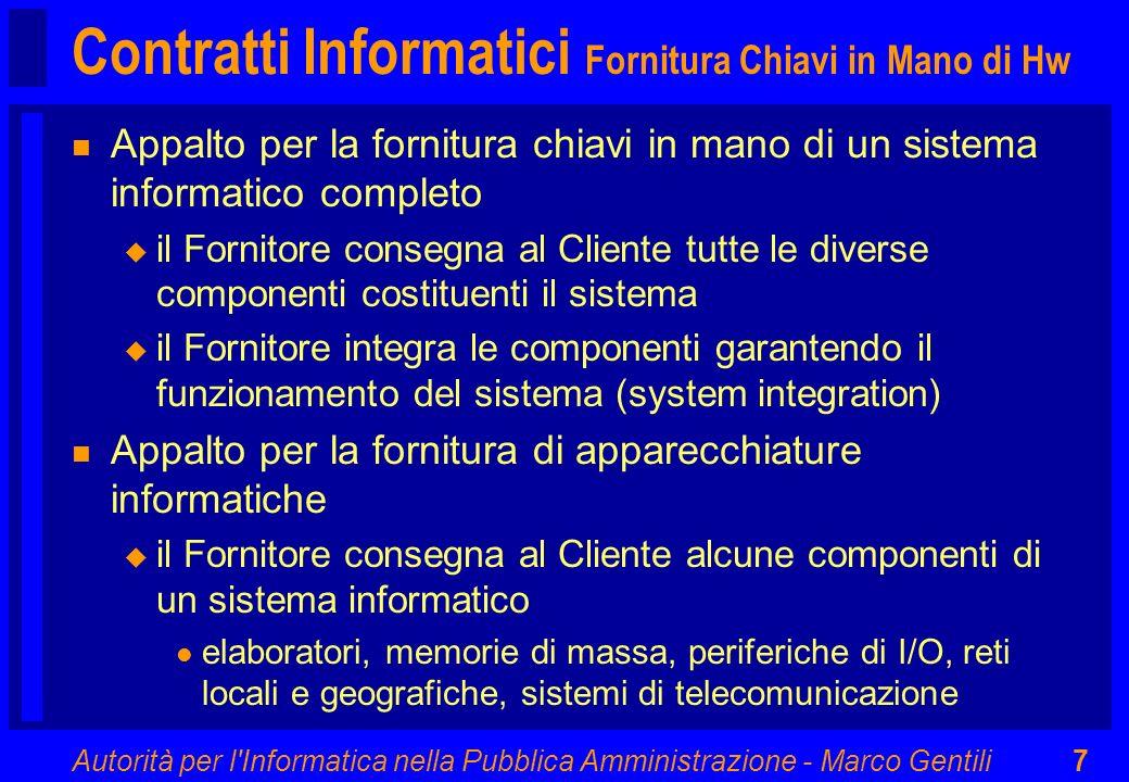Contratti Informatici Fornitura Chiavi in Mano di Hw