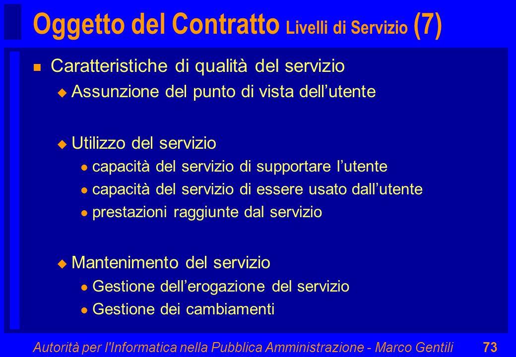 Oggetto del Contratto Livelli di Servizio (7)