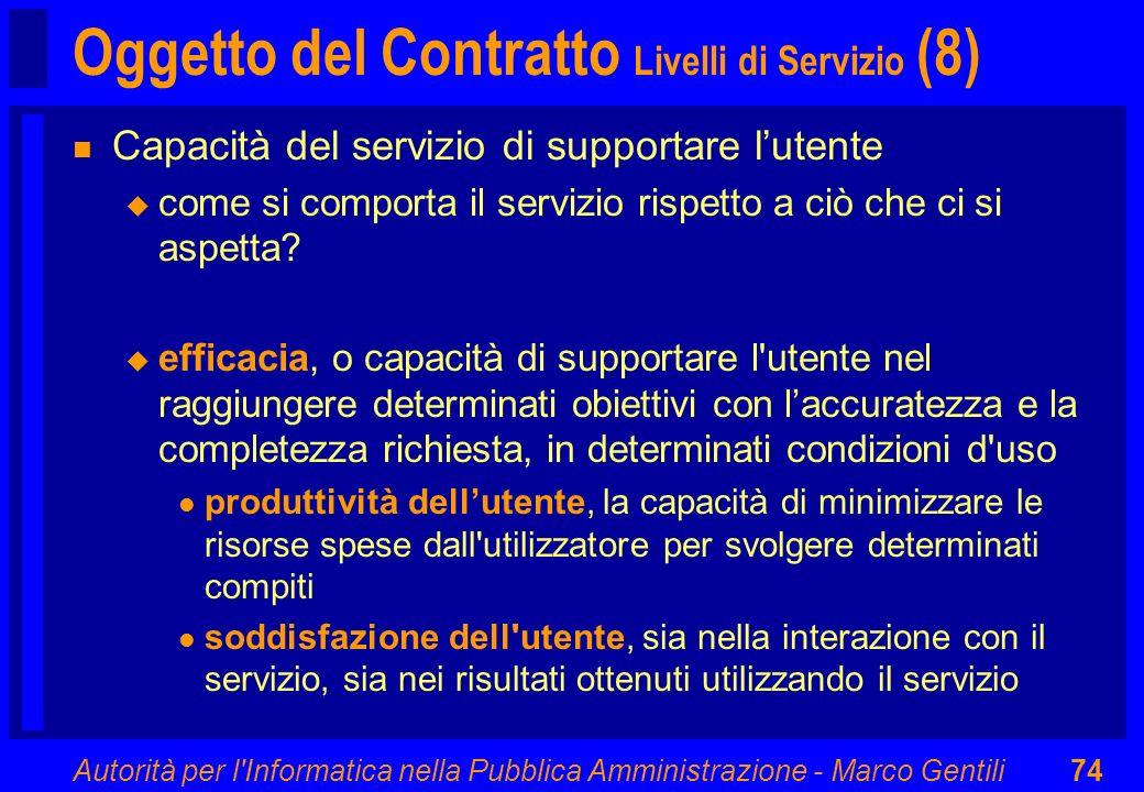 Oggetto del Contratto Livelli di Servizio (8)