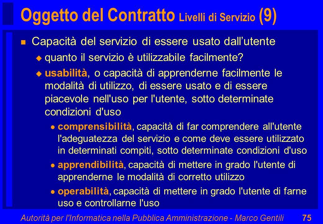 Oggetto del Contratto Livelli di Servizio (9)
