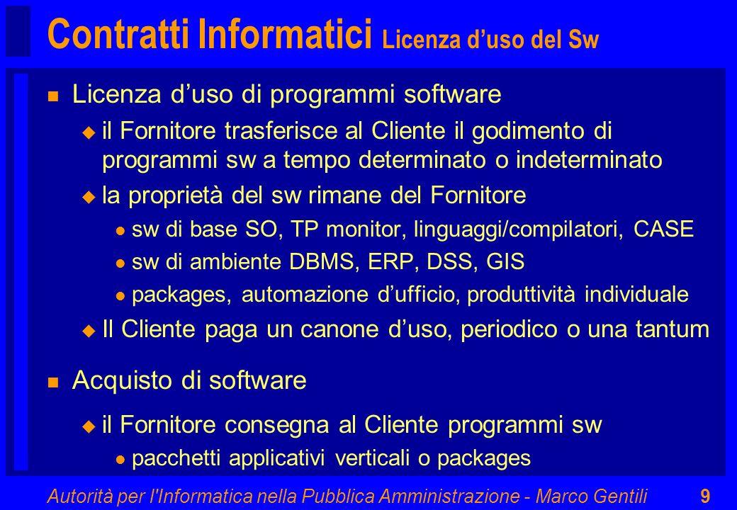 Contratti Informatici Licenza d'uso del Sw