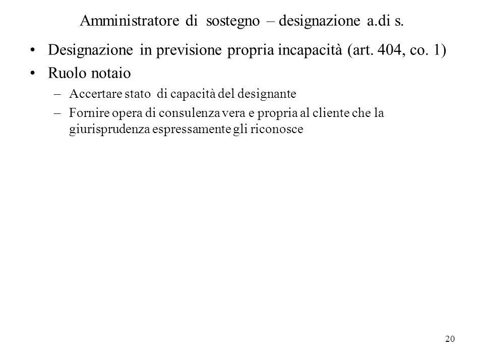 Amministratore di sostegno – designazione a.di s.