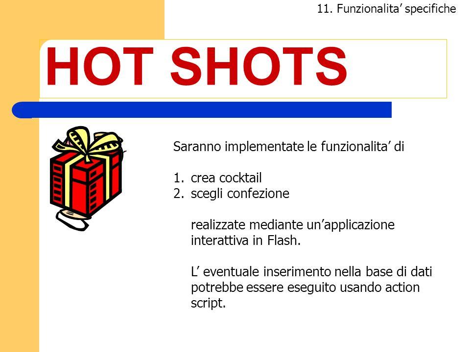 HOT SHOTS Saranno implementate le funzionalita' di crea cocktail