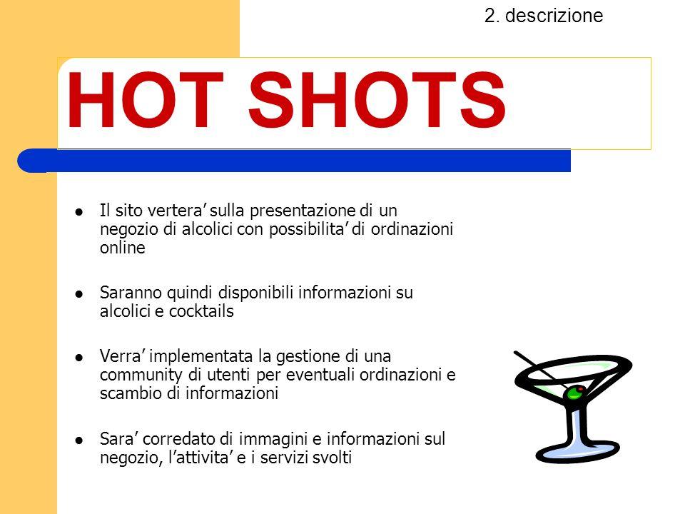 2. descrizione HOT SHOTS. Il sito vertera' sulla presentazione di un negozio di alcolici con possibilita' di ordinazioni online.