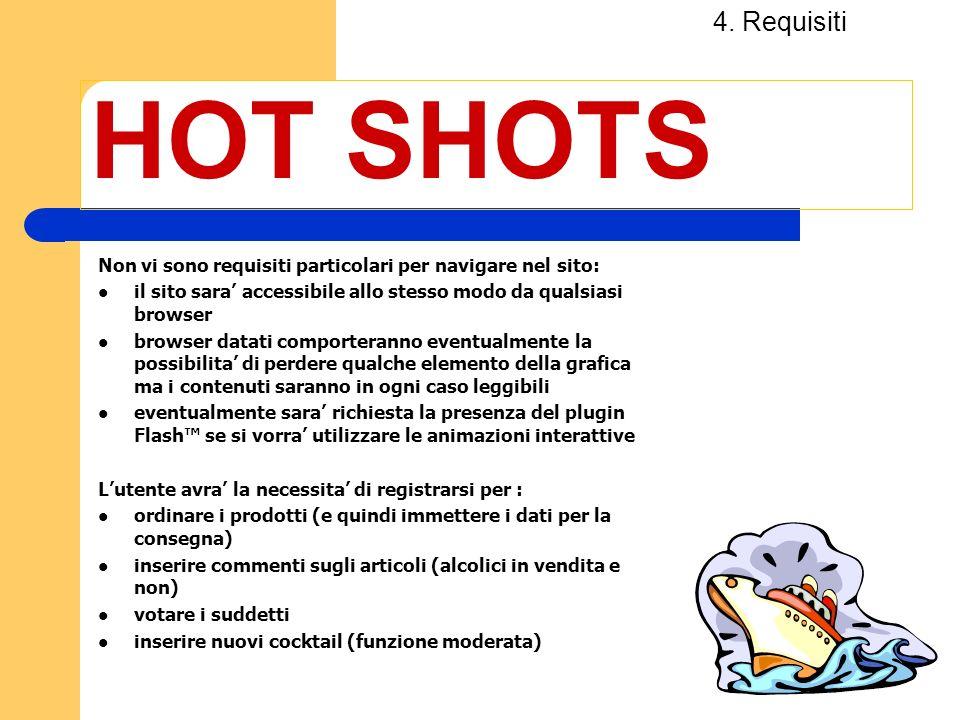 4. Requisiti HOT SHOTS. Non vi sono requisiti particolari per navigare nel sito: il sito sara' accessibile allo stesso modo da qualsiasi browser.