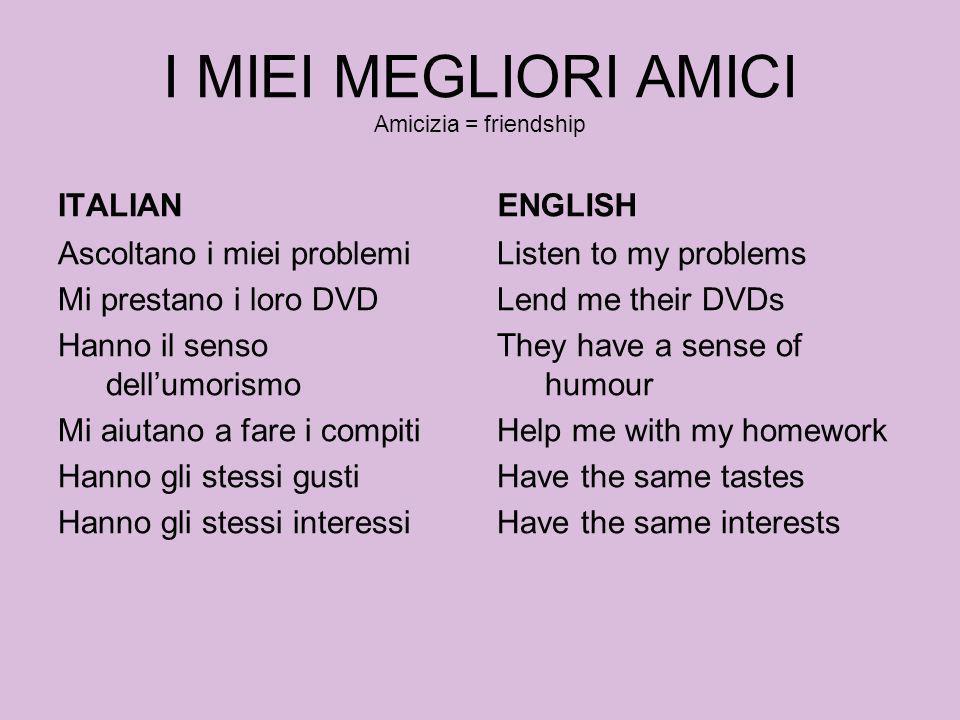I MIEI MEGLIORI AMICI Amicizia = friendship