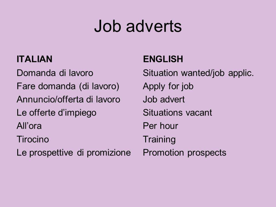 Job adverts ITALIAN ENGLISH