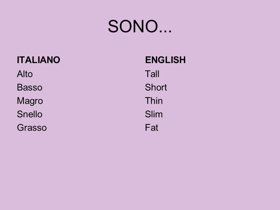 SONO... ITALIANO ENGLISH Alto Basso Magro Snello Grasso