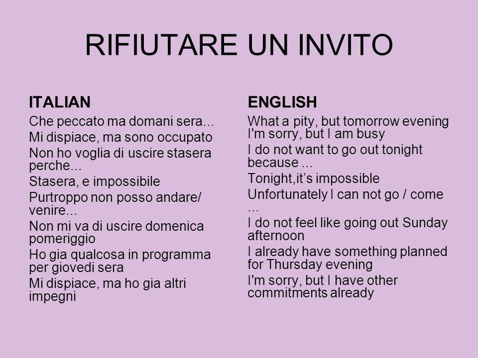 RIFIUTARE UN INVITO ITALIAN ENGLISH