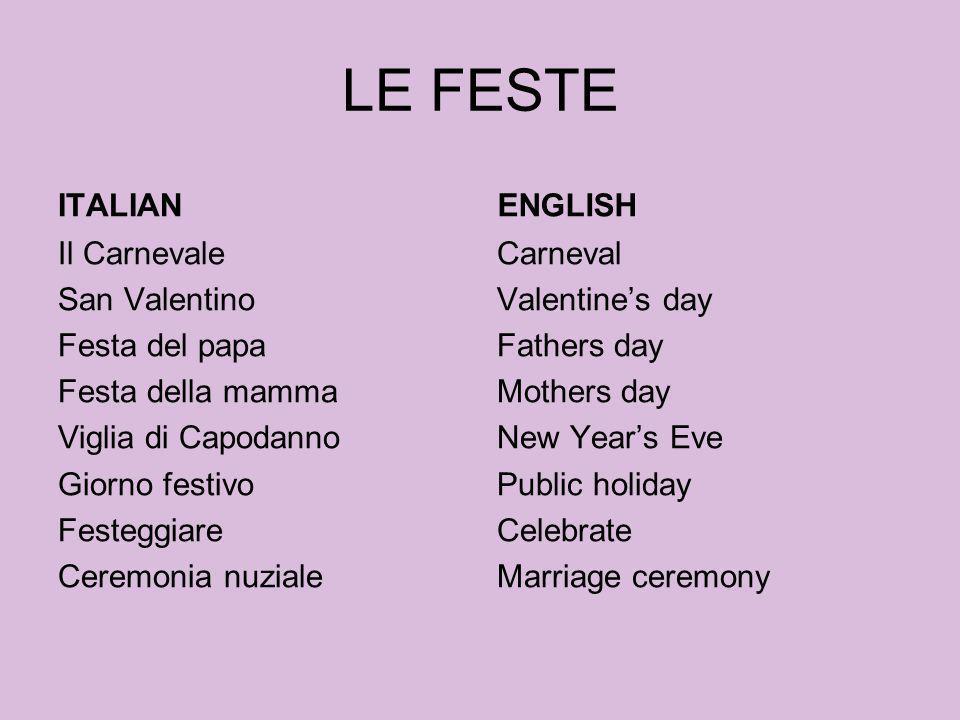 LE FESTE ITALIAN ENGLISH