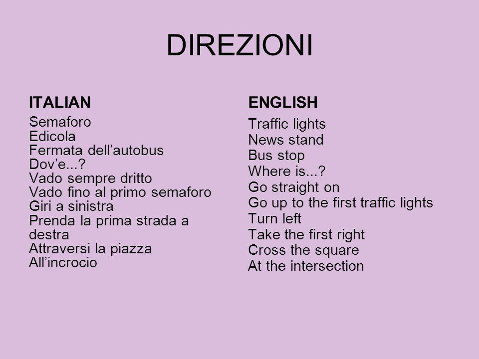DIREZIONI ITALIAN ENGLISH