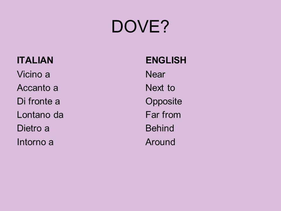 DOVE. ITALIAN. ENGLISH.