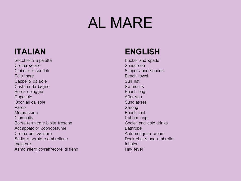 AL MARE ITALIAN ENGLISH