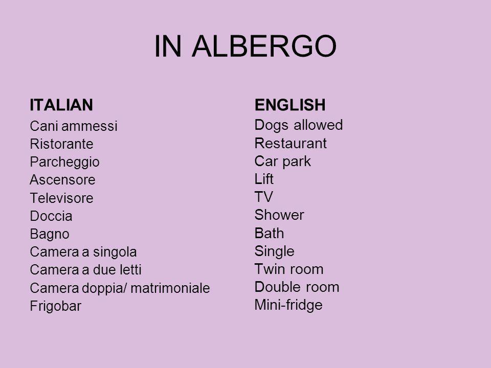 IN ALBERGO ITALIAN ENGLISH