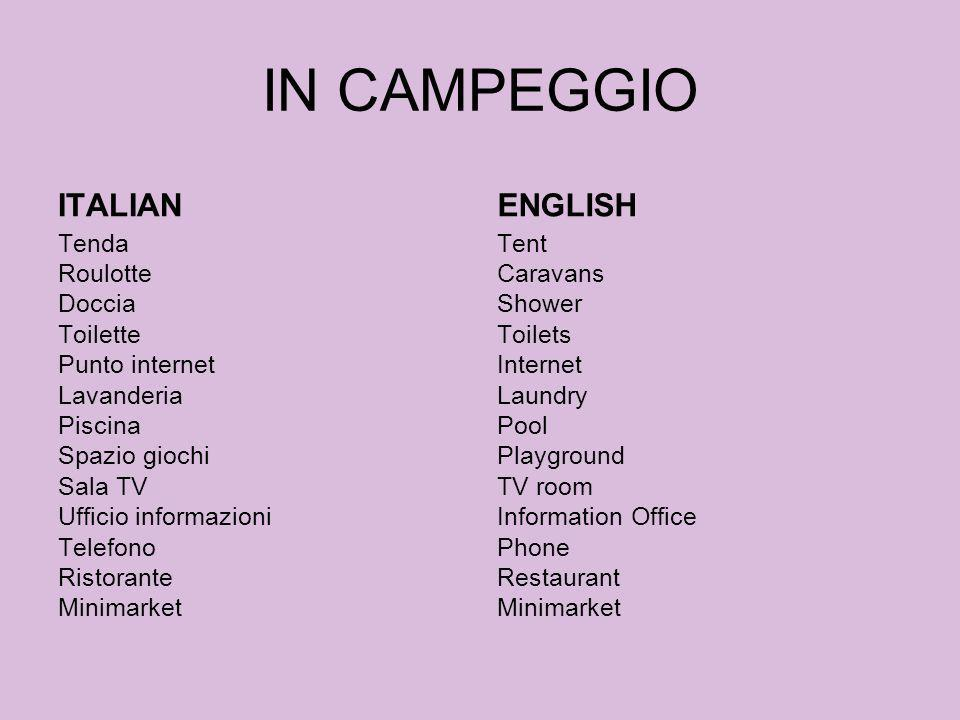 IN CAMPEGGIO ITALIAN ENGLISH