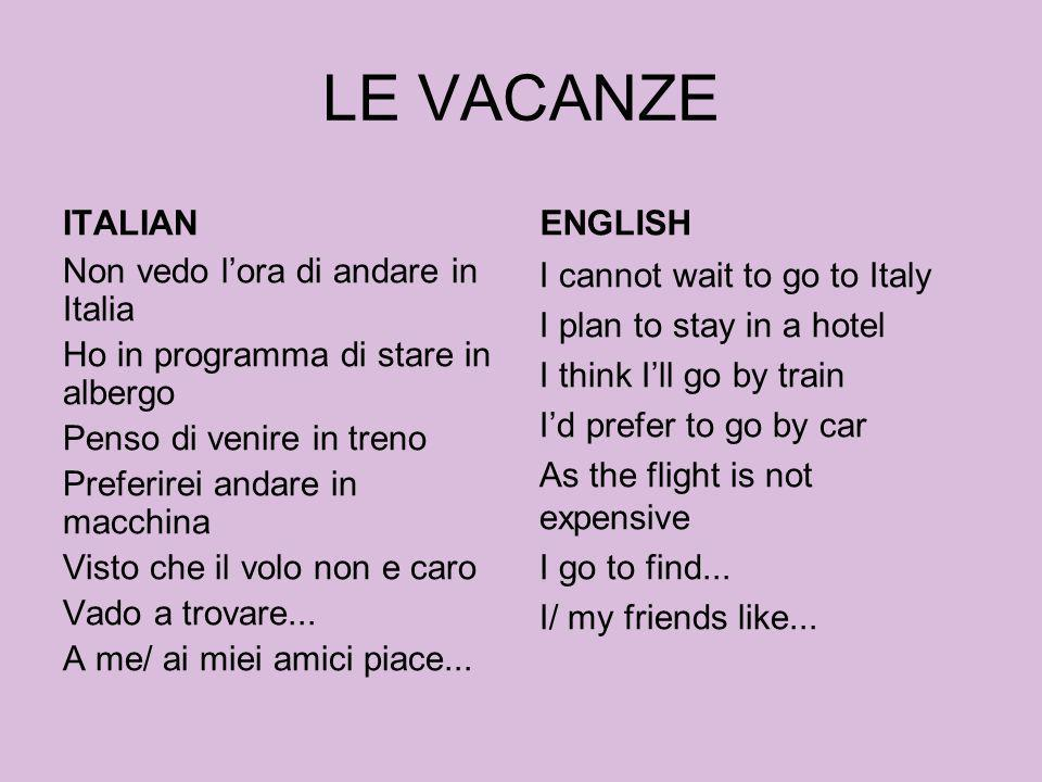 LE VACANZE ITALIAN ENGLISH